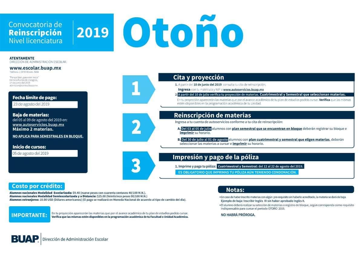 Reinscripción Otoño 2019